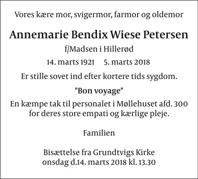 Annemarie Bendix Wiese Petersen
