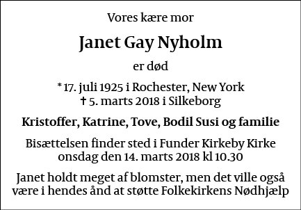 Janet Gay Nyholm
